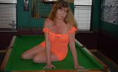 Gang Bang Dee Dee Strips On A Pool Table To Reveal Her Brightly Colored Nipples Gang Bang Dee