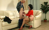Anal Screen 499740 Gwendolen & Benjamin Sultry Gal In Tan Nylons Spread Eagled On The Sofa For Ass-Splitting Action Anal Screen