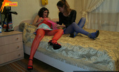 Pantyhose Colors Three Colors Pantyhose In Lesbian Girls SexPantyhose Addicted Teen Blonde And Brunette Lesbians Sveta And Karina Enjoy Red Blue And Pink Pantyhose At Once During Lesbian Sex Pantyhose Colors