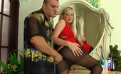Pantyhose Line Trinity & Nicholas Busty Babe In A Red Dress And Black Pantyhose Gets It On With A Nylon Junky Pantyhose Line