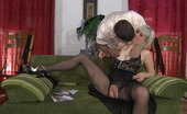 Pantyhose Line Natali & Lucas Heated Blondie Spreading Her Legs In Black Crotchless Hose For Hard Boning Pantyhose Line