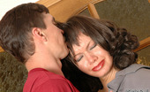 Pantyhose Line Deborah & Edmund Shy And Almost Naked Babe In Sheer Pantyhose Kneeling Down To Give Blowjob Pantyhose Line