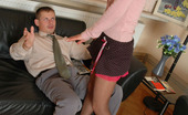 Pantyhose Line Emma & Benjamin Sexy Secretary Hopping On The Lusty Client In Her Shiny Sheer-To-Waist Hose Pantyhose Line