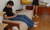 Pantyhose Line Essie & Timothy Luscious Chick In Flesh-Colored Hose In Mind-Blowing Upskirt Flash Scenes Pantyhose Line