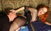 Pantyhose Line Salome & Adrian Freaky Chick In Black Control Top Hose Preparing Her Pussy For Hard Riding Pantyhose Line