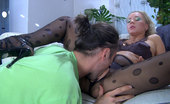 Pantyhose Tales Sandy & Gerhard Pretty Blondie Gets Licked And Dicked Thru Her Sexy Black Patterned Tights Pantyhose Tales