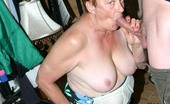 Granny Ultra Horny Granny Ginger Spice Playing With Her Tits While Slurping A Thick Cock And Gets A Nasty Cum Facial Granny Ultra