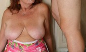 Granny Ultra Sexy Granny Stripping Off In Her Kitchen While Giving Off An Experienced Blowjob And Gets Cum Glazed Granny Ultra