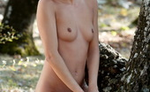 Sun Erotica Gina Sexy Teen Babe With Black Hair Showing Us Her Shaved Pussy And Tiny Tits By The Oak Tree Sun Erotica
