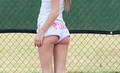 Petite Lover Sara Tiny Blonde Shows Off Her Tits On The Tennis Court Petite Lover