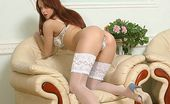 Nylon Butterfly Sexy Redheaded Girl In White Stocking! Betty Loves To Be In Front Of The Camera And Tease You Playing With Her Tight Pussy! Nylon Butterfly