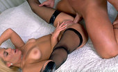 Nylon Butterfly Blonde In Stockings Fucked By Horny Athlete Blonde Babe In Black Thigh-Highs Sucking Dick And Getting Fucked By A Brawny Athlete Nylon Butterfly