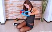 Pantyhose Sports Gymnastics Drills Done By A Babe In Black Nylon Pantyhose Sports