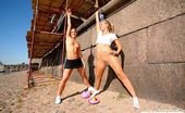 Pantyhose Sports Two Gymnasts In Pantyhose Working Riverside Pantyhose Sports