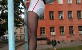 Pantyhose Sports Tall Pantyhose Gymnast Exercises In The Open Air Pantyhose Sports