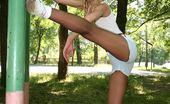 Pantyhose Sports Blonde Emilias In Pantyhose Doing Stretching Exercises Outdoors Pantyhose Sports