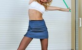 Pantyhose Sports Blonde Miranda In Pantyhose Working Out With Body Bar Pantyhose Sports