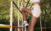 Pantyhose Sports Kristie Showing Nice Pantyhose-Clad Ass Outdoors Pantyhose Sports