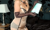 Nylon Extreme Playful Blonde In Girdle And Seams Nylon Extreme