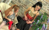 Lick Nylons Emmie & Emmie Gorgeous Babes Fitting Their Luxury Nylons With Garters And Taking Out Toy Lick Nylons