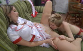 Lick Nylons Alina & Barbara Vivacious Sappho In Nurse Uniform And Red Stocking Inspects A Babe'S Pussy Lick Nylons