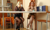 Lick Nylons Rita & Misty Two Lesbian Lovelies In Classy Stockings Going For Pink Lunch In The Cafe Lick Nylons