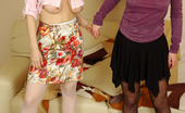 Lick Nylons Bonnie & Mima Sexy Girls Fitting On Red And Black Nylons Before Lesbian Kissy-Licky Play Lick Nylons