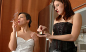 Lick Nylons Jaclyn & Sheila Sensual Lesbi Girlfriends Clad In White And Black Stockings Kissing It Down Lick Nylons