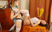 Lick Nylons Susanna & Gloria Sweet Lesbian Candies Clad In White Stockings Get To Intense Strap-On Sex Lick Nylons