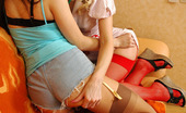 Lick Nylons Gertie & Sophia Pretty Nurse In Sexy Red Fishnets Answering A Call Of A Lez Chick In Heat Lick Nylons