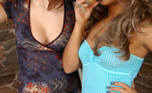 Lick Nylons Jaclyn & Joanna Well-Shaped Chick In Tan Lace Top Stockings Getting Her Soaking Pussy Eaten Lick Nylons