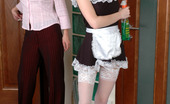 Lick Nylons Mima & Paulina Pretty French Maid In White Lacy Nylons Getting Seduced By A Heated Lesbo Lick Nylons