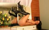 Leg Seeker Jelena Jensen Jelena Jensen In Black Lingerie And Silk Stockings Leg Seeker