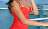 Pacino's World Elana Has A Hot Red Dress And Poses By The Beach Pacino's World