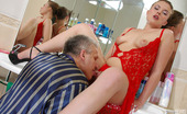 Girls For Old Men Alana & Caspar Yummy Girl In Provoking Red Nighty Getting A Leg Over With A Greying Dude Girls For Old Men