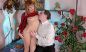 Girls For Old Men Alice & Leonard Pretty Redhead Blowing Old Cock And Spreading Wide To Get Her Panties Back Girls For Old Men