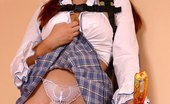 Sweet White Panties Lady In Schoolgirl Uniform Shows Panties With Butterfly Sweet White Panties