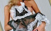Lustful Maids Blonde Maid Lady B In Stockings Posing With Yellow Broom And Taking Panties Off Lustful Maids