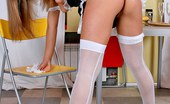 Lustful Maids Busty Blonde Maid Linda In White Stockings Takes Off Panties Lustful Maids