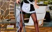 Lustful Maids Brunette Maid Lana Posing With Vacuum Cleaner In Black Stockings And Maid Outfit Lustful Maids