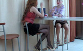 Pantyhose 1 Sylvia & Clare Sexy Babe Putting On A New Pair Of Barely Visible Hose Getting To Lez Play Pantyhose 1