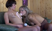 Pantyhose 1 Nora & Mima Slim Vixens In Sheer Control Top Hose Use Whipped Cream In Their Lez Play Pantyhose 1