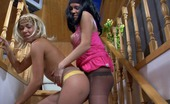 Pantyhose 1 Lieila & Margo Sexy Next-Door Girls Wearing Fine Sleek Hose Start Coupling On The Stairs Pantyhose 1