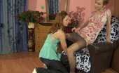 Pantyhose 1 Sophy & Stephanie Hot Babe Puts On Brown Control Top Hose For Making Out With Her Girlfriend Pantyhose 1