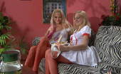 Pantyhose 1 Dolly & Judith Ardent Nurses In Red Patterned Pantyhose Launch Into A Heated Strap-On Fuck Pantyhose 1