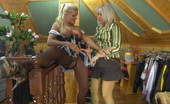 Pantyhose 1 Susanna & Hannah Awesome Mistress In Green Fashion Pantyhose Shows A Maid Her Lesbian Duties Pantyhose 1