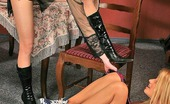 Pantyhose 1 Tina & Hilary Freaky Gal In Luxury Hose Forcing Cute Babe Into Muff-Munching On The Table Pantyhose 1