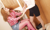 Pantyhose 1 Laura & Minna Curly Gal In Pink Fishnet Pantyhose Longing For Frantic Clit-To-Clit Action Pantyhose 1
