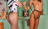 Pantyhose 1 Aloys & Penelope Playful Chicks Pulling Pantyhose On Their Faces Before Fervently Kissing Pantyhose 1