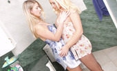 Pantyhose 1 Flossie & Veronica Blonde Babes In Control Top Pantyhose Going Wild Right In The Shower Stall Pantyhose 1